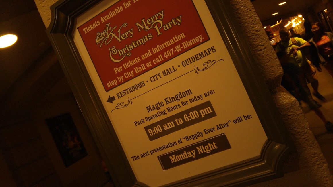 Mickey's Very Merry Christmas Party Park Hours