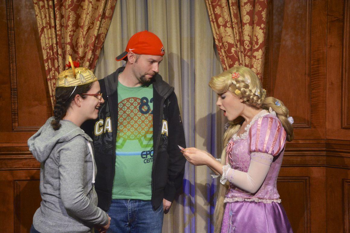 Giving Rapunzel a Valentine's Card
